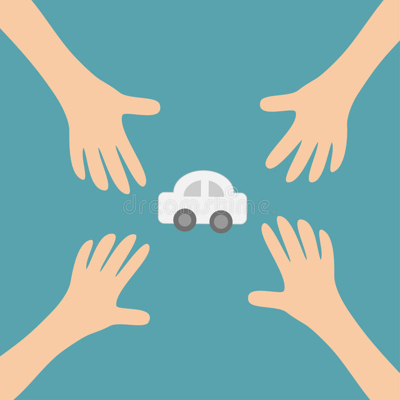 Four Hands arms reaching to cartoon auto car automobile sign symbol. Taking hand. Close up body part. Business card. Flat design. Wealth concept. Blue royalty free illustration