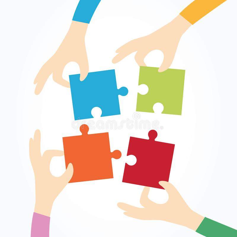 Four hands holding puzzle together, partnership, business, cooperation and management concept. Four hands holding puzzle together. Teamwork, partnership royalty free illustration