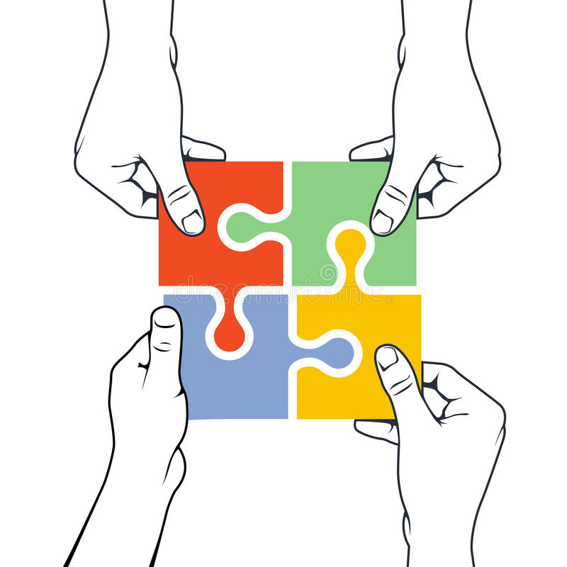 Four hands joining puzzle piece - association concept. Four hands joining puzzle piece - association and merger concept vector illustration