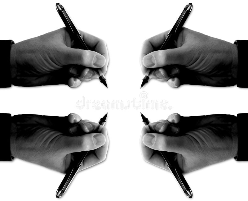 Four Hands with Pens Signing (over white) stock photo