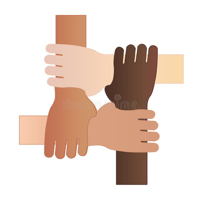 Four hands together stock illustration
