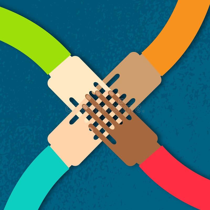 Four hands together team work. royalty free illustration