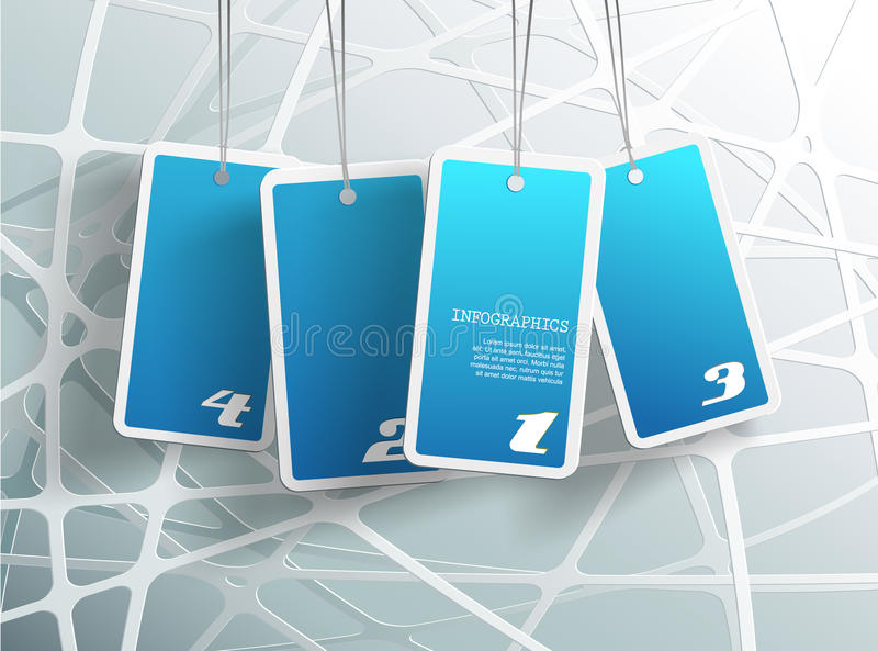 Four hanging blue cards. royalty free illustration