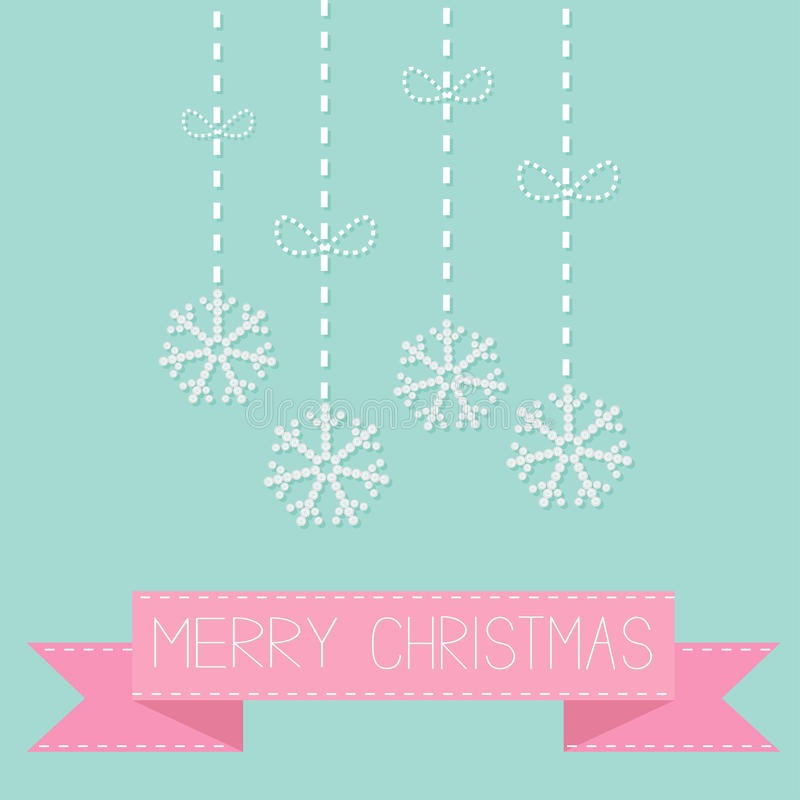 Four hanging snowflakes with dash line bows on blue Pink ribbon. Merry Christmas card. Flat design. Four hanging snowflakes with dash line bows on blue Pink vector illustration