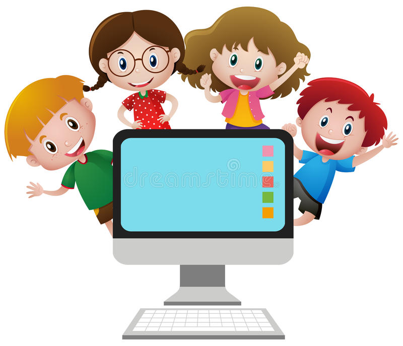 Four happy children behind computer screen. Illustration stock illustration