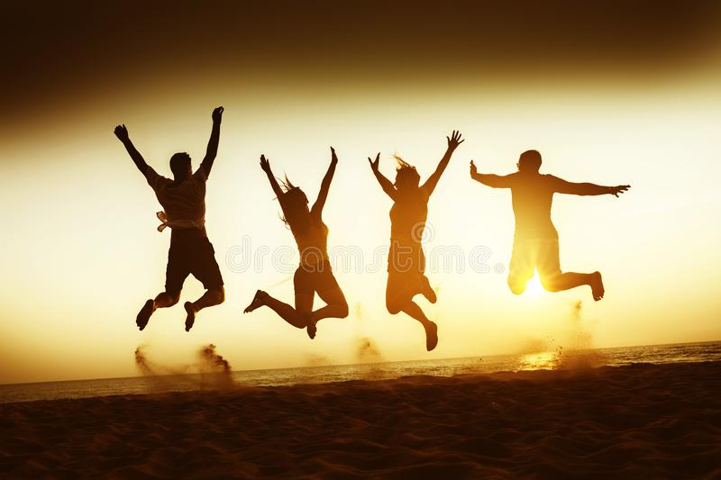 Friends happiness travel beach concept royalty free stock photo