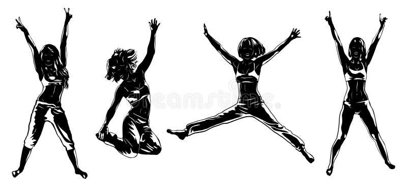 Four happy girls royalty free illustration