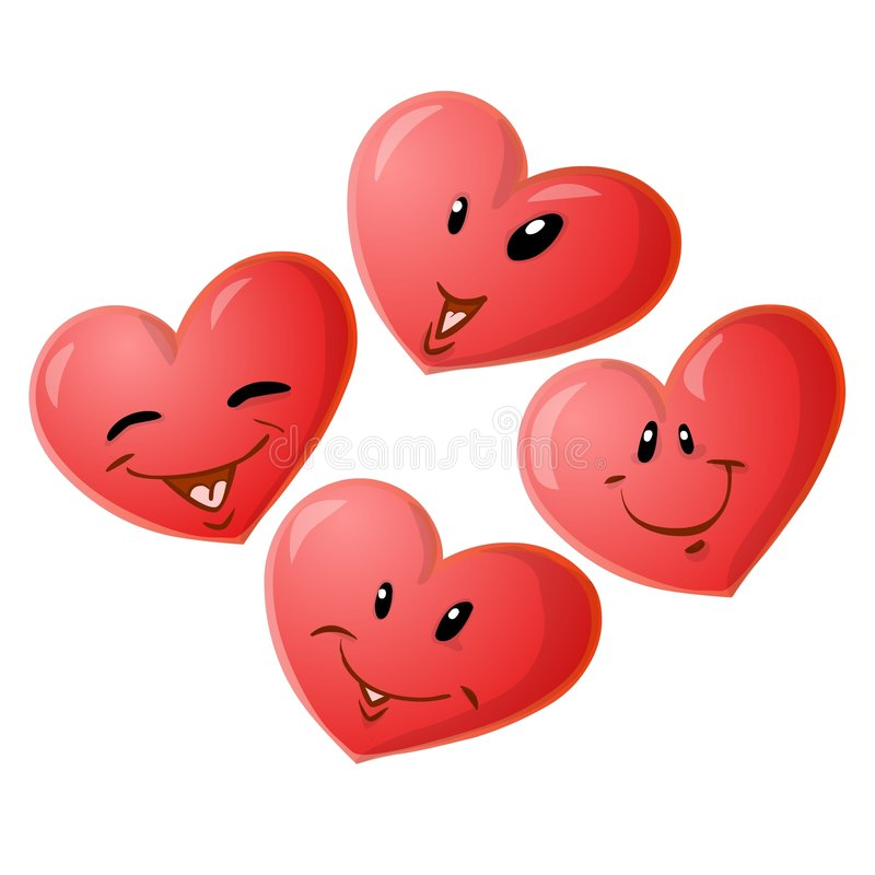 Four hearts. Four smiling red heart emoticons vector illustration