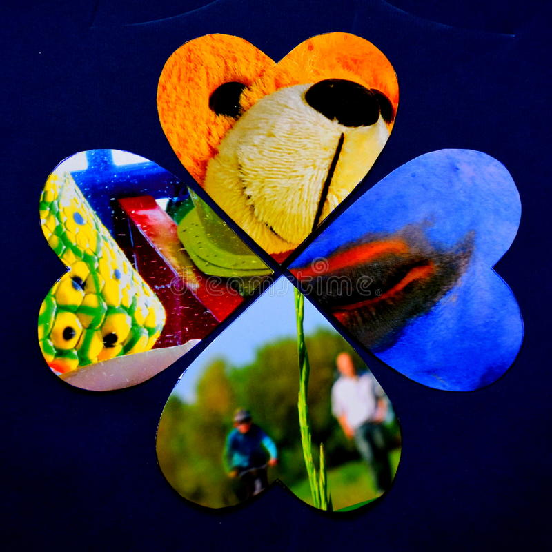 Four hearts as an abstract multicolor collage royalty free stock photos