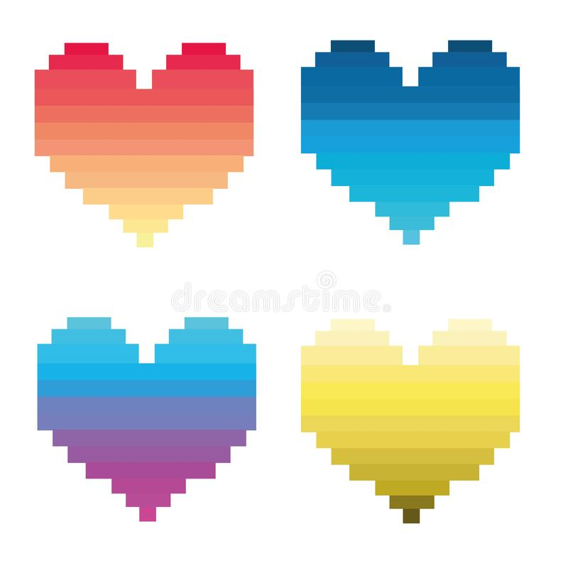 Four hearts in colored stripes. Vector illustration stock illustration