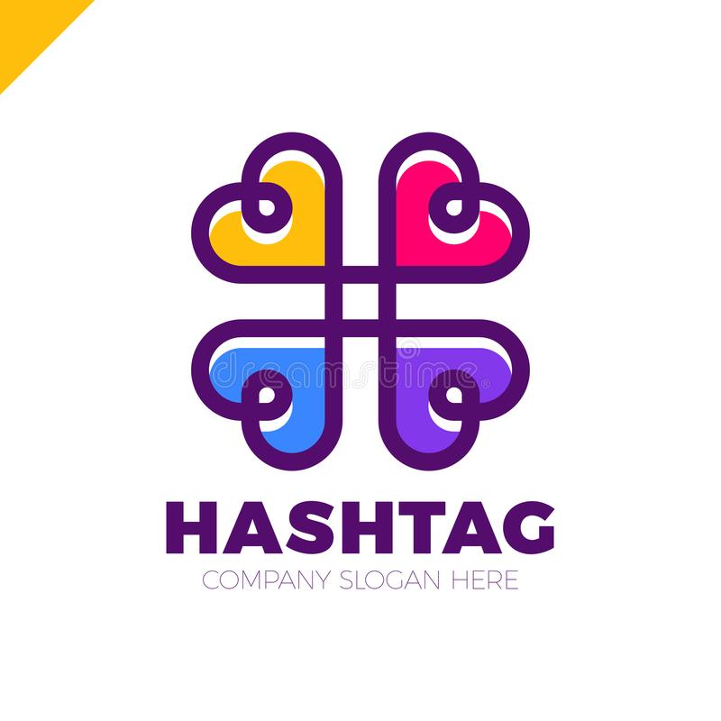 Four hearts social vector symbol. Heart cross logotype. Abstract line hashtag logo icon sign. vector illustration