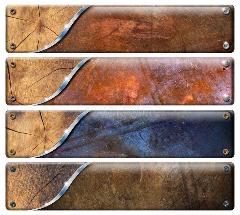 Four Horizontal Grunge Headers royalty free illustration