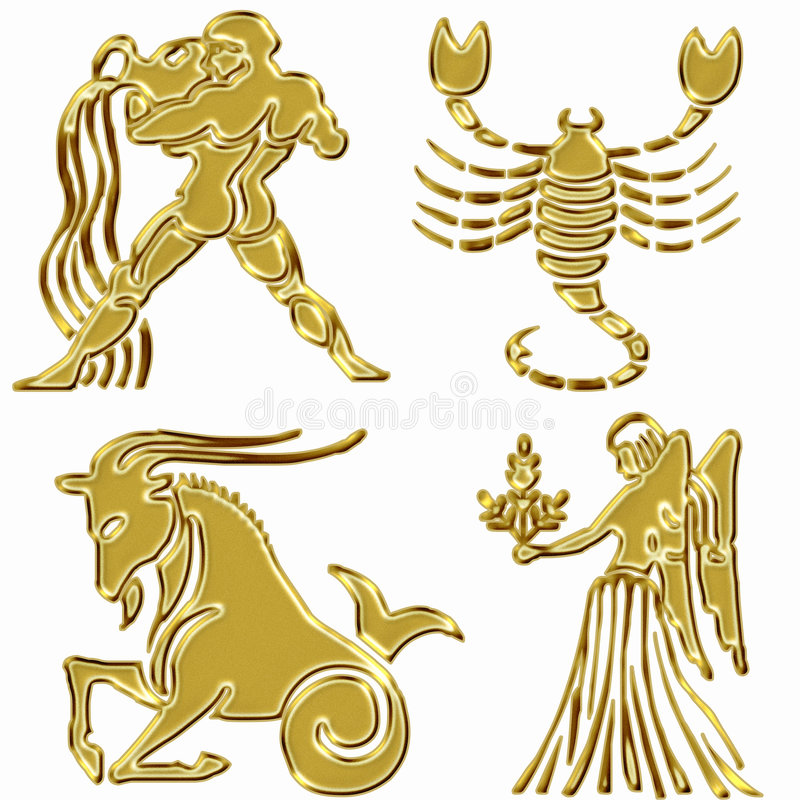 Download Four horoscope symbols stock illustration. Illustration of signs - 6690781