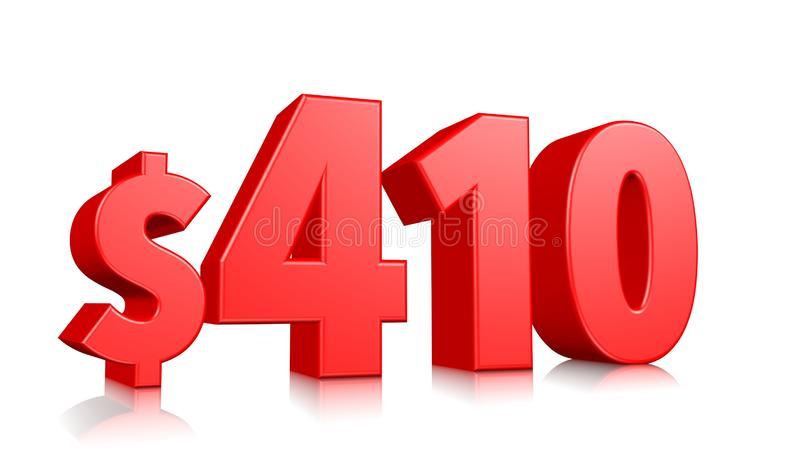 410$ Four hundred and ten price symbol. red text number 3d render with dollar sign on white background. 410$ Four hundred and ten price symbol. red text number stock illustration
