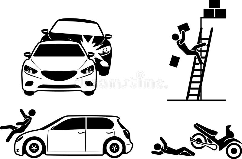 Four icons for accident insurance stock photos