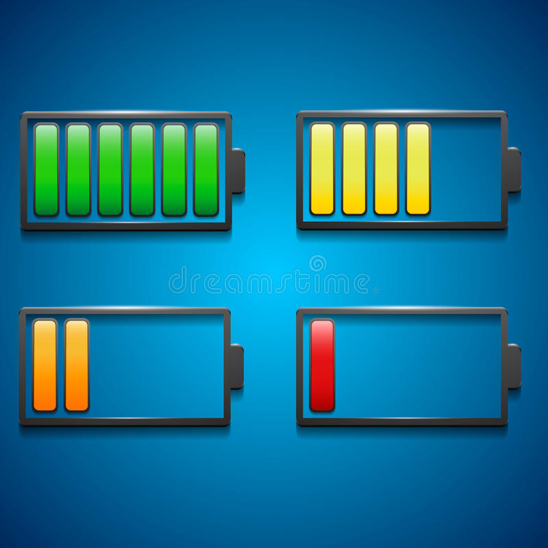 Download Four Icons Of Charge From Maximum To Minimum In Di Stock Vector - Image: 35310942