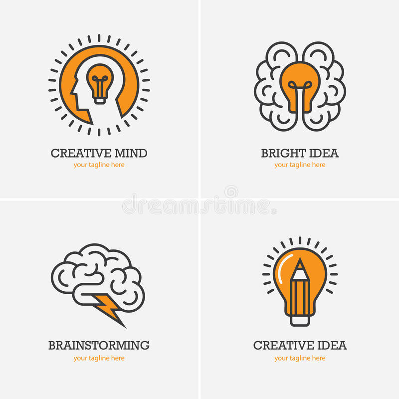 Four icons with human head, brain and light bulb stock illustration