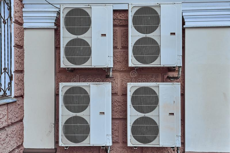 Large industrial air conditioners on the wall royalty free stock images