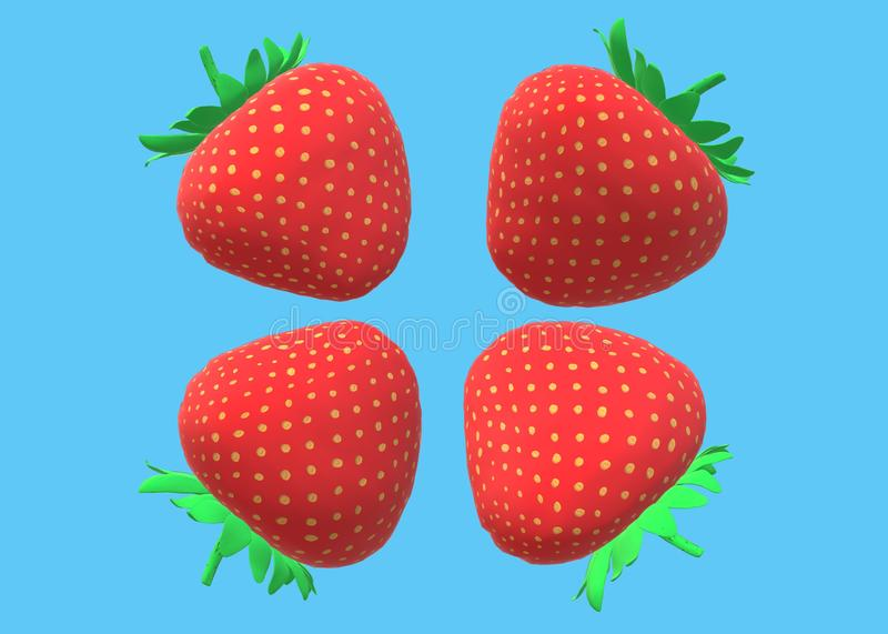 Four identical strawberry fruits against a light blue backdrop stock photos
