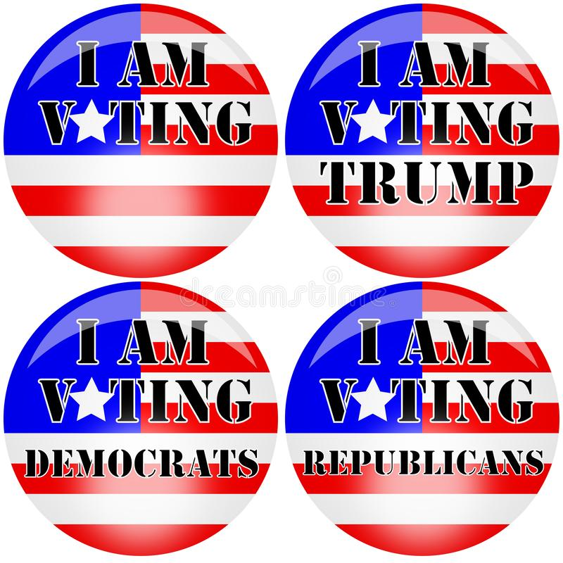 Four illustration badges for the American presidental elections in 2020 supporting Donald Trump, democrats or republicans royalty free stock photography