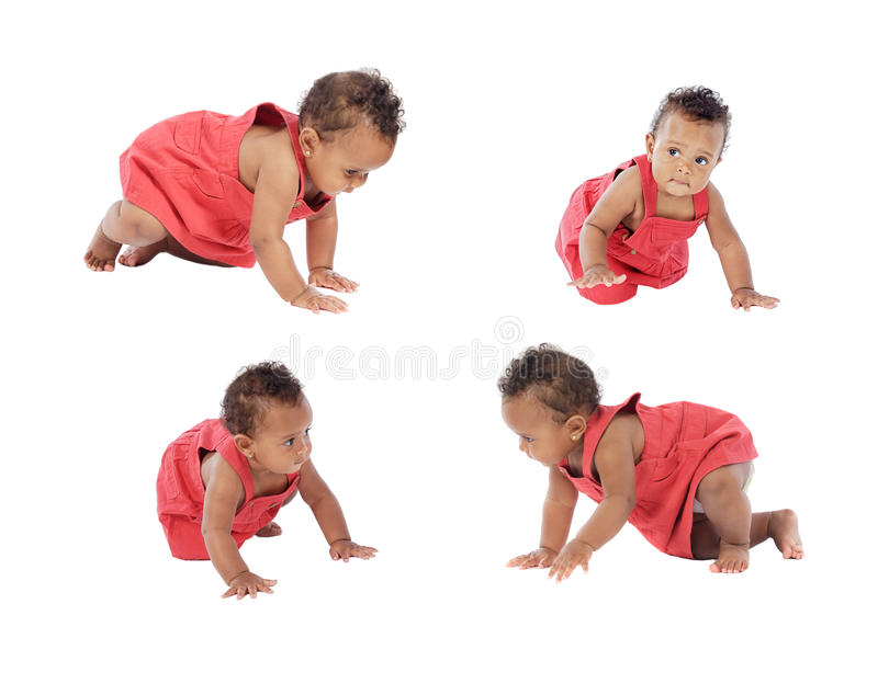 Four images of a beautiful baby girl crowling royalty free stock photo