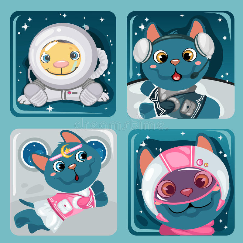 Four images of kitten astronauts, cute collection royalty free illustration