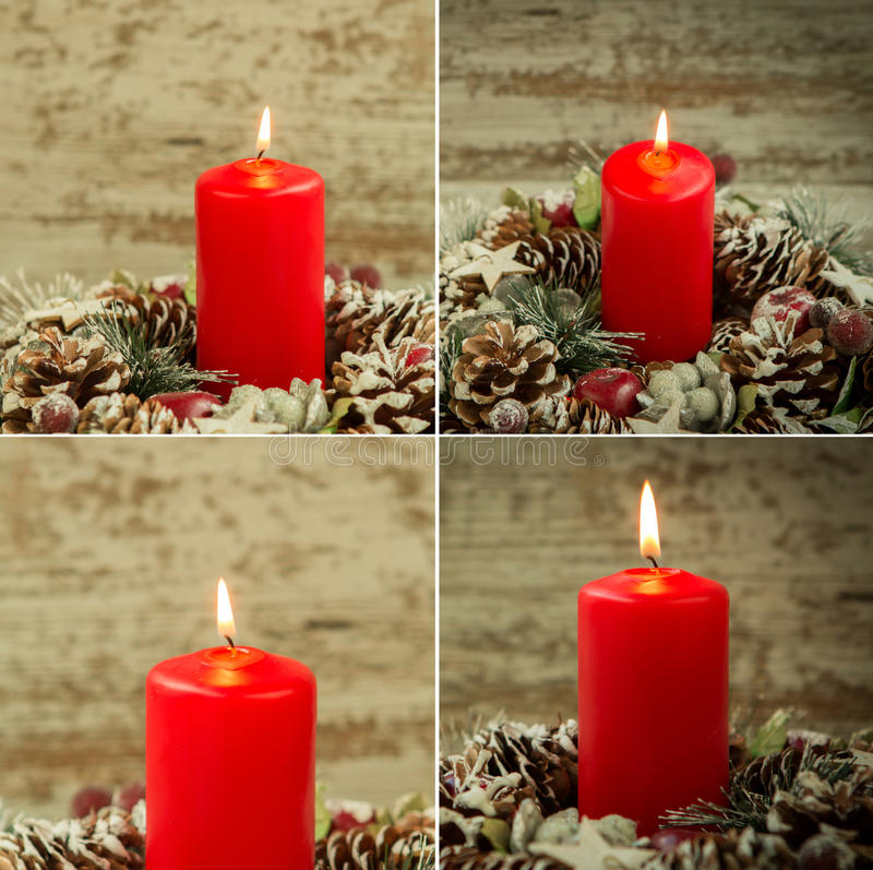 Four images with red candle lit and pinecones for Christmas stock photo