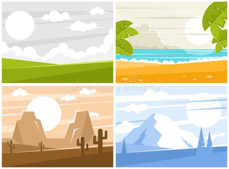 Four images of sunrise or sunset royalty free illustration