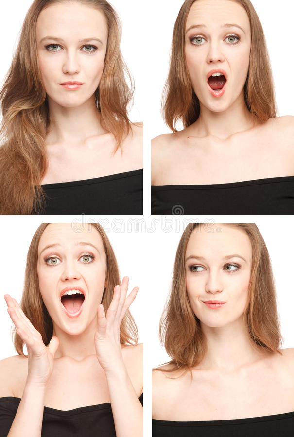 Four images of a young woman in photo booth stock image