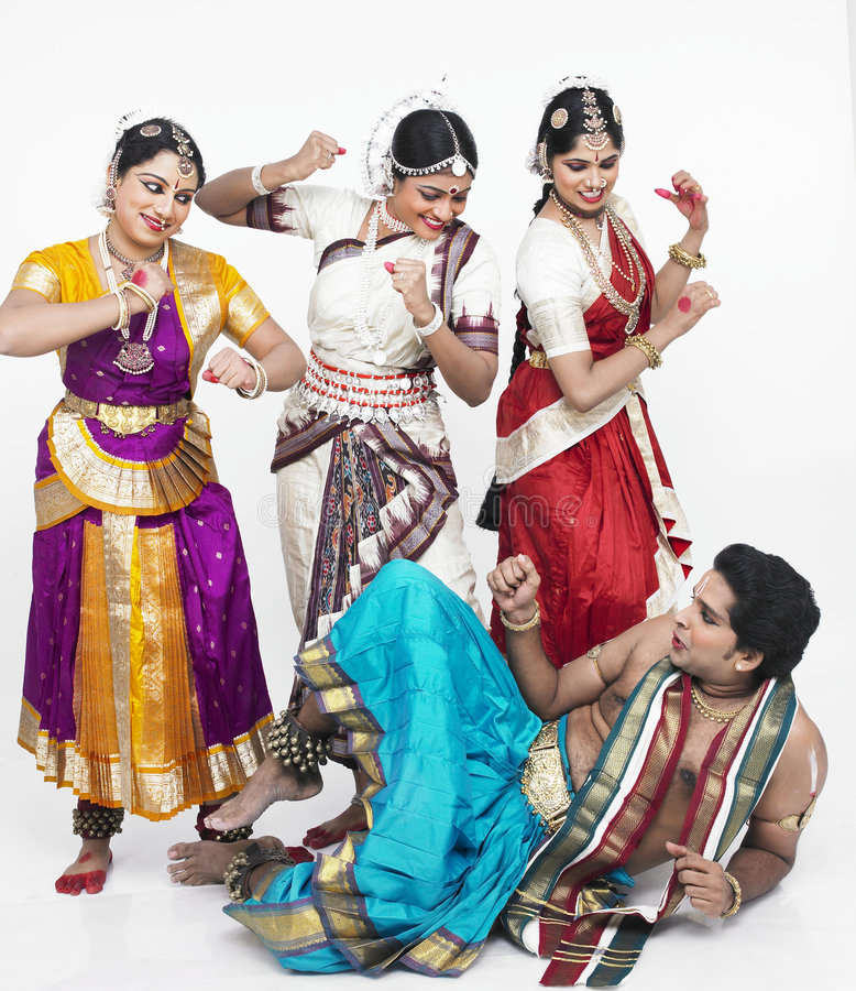 Four Indian Classical Dancers Royalty Free Stock Image