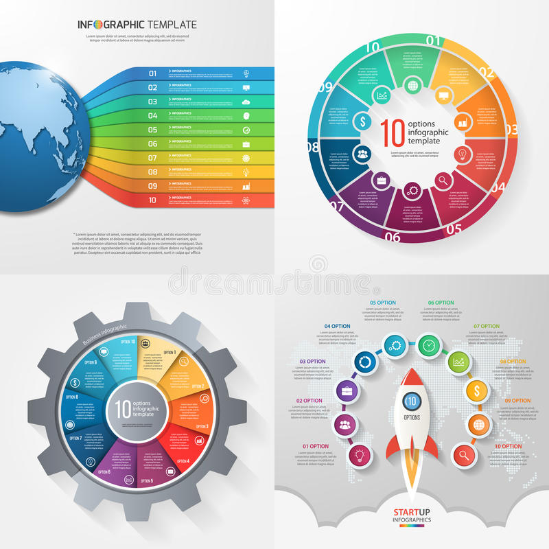 Four infographic templates with 10 steps, options, parts, processes. Business concept. royalty free illustration