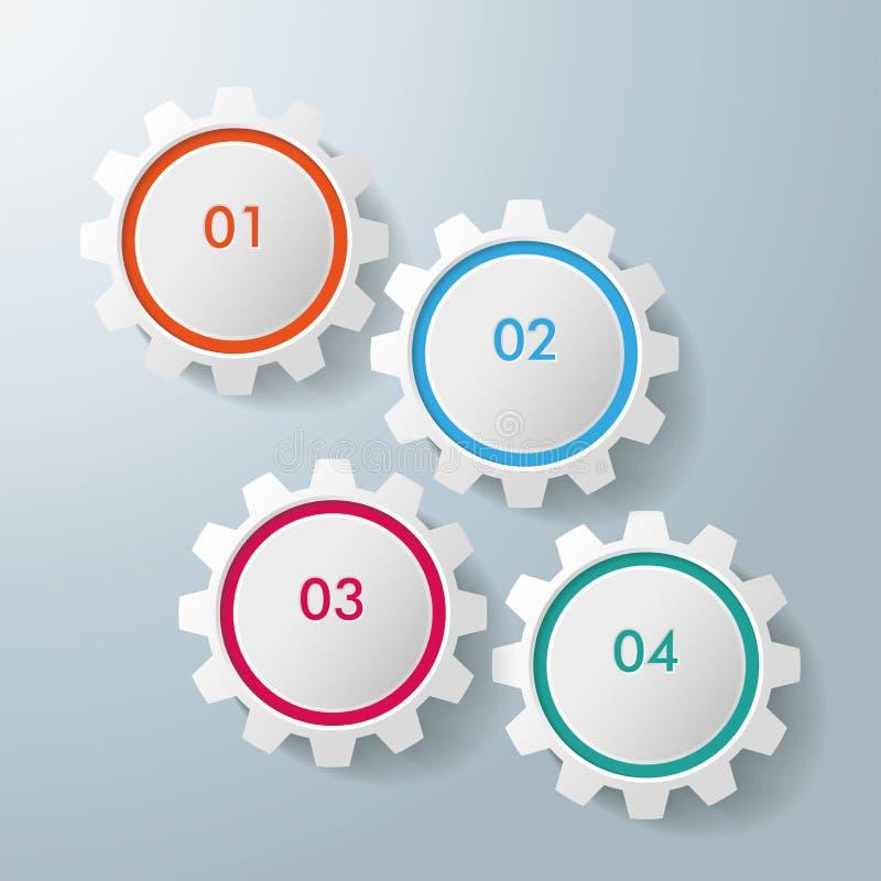 Four interlocking gears royalty free illustration