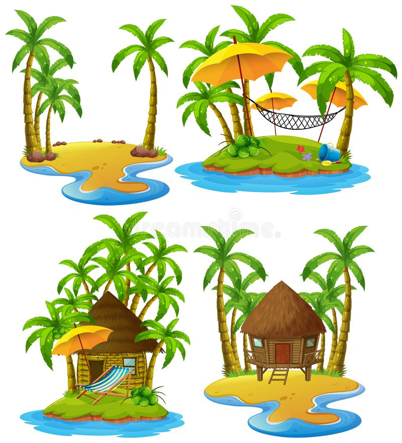 Four islands with wooden hut and coconut trees royalty free illustration