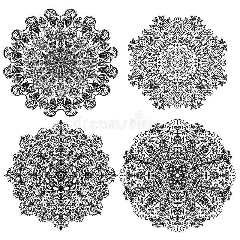 Four isolates circular mandalas with different ornaments illustration vector illustration