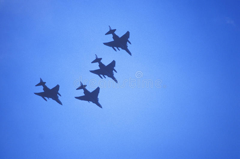 Four Jet Fighters Flying in Formation, Washington, D.C. stock photo