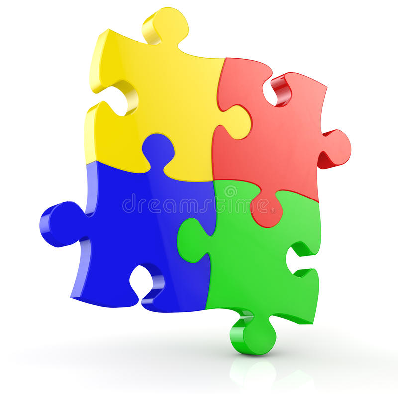 Four jigsaw puzzle pieces stock illustration