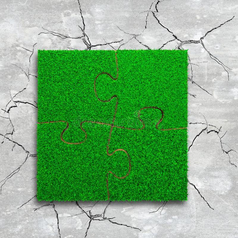 Four jigsaw puzzles with green grass. Jigsaw puzzles of green grass texture, on cracked light grey concrete floor background, high angle view royalty free stock images