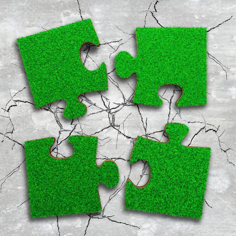Four jigsaw puzzles with green grass. Four jigsaw puzzles of green grass texture, on cracked light grey concrete floor background, high angle view royalty free stock photos