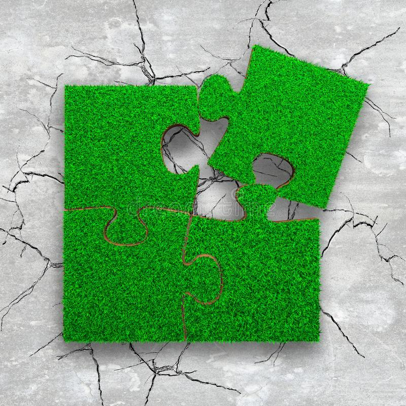Four jigsaw puzzles with green grass. Jigsaw puzzles of green grass texture, on cracked light grey concrete floor, high angle view stock photography
