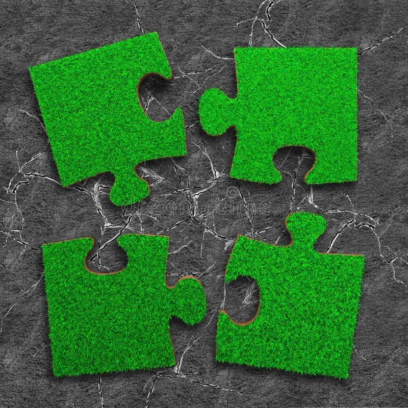Four jigsaw puzzles of green grass texture, on dry cracked gray land background, high angle view. Four jigsaw puzzles of green grass texture, on dry cracked land royalty free stock image