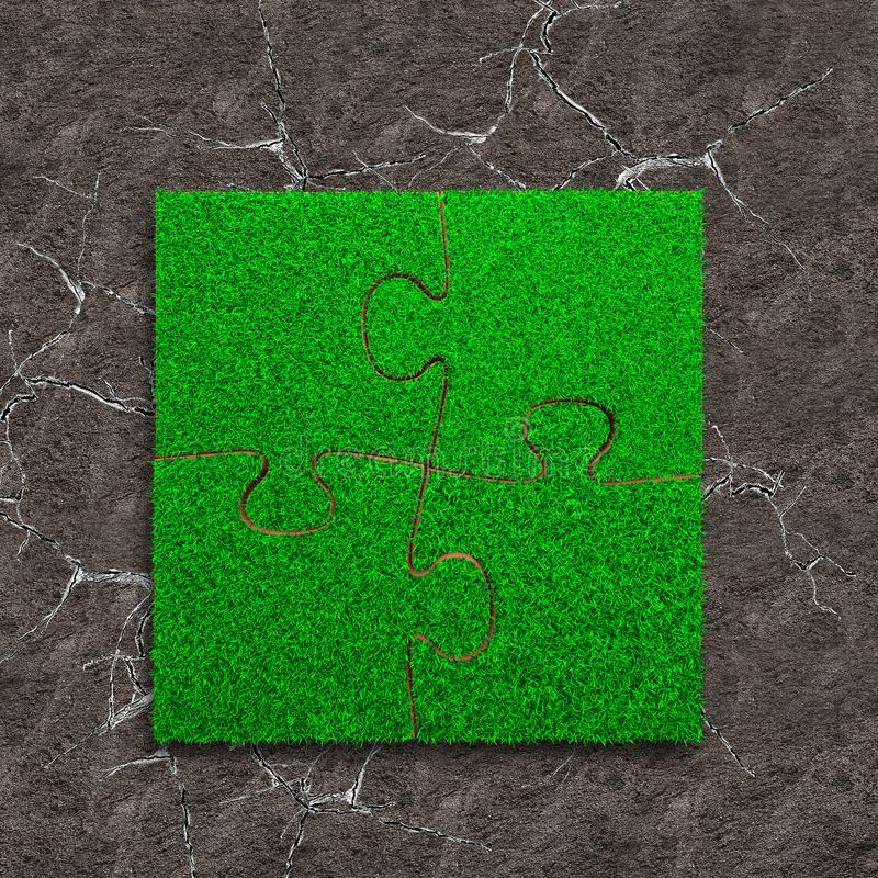 Four jigsaw puzzles with green grass. Jigsaw puzzles of green grass texture, on dry cracked gray land background, high angle view stock image