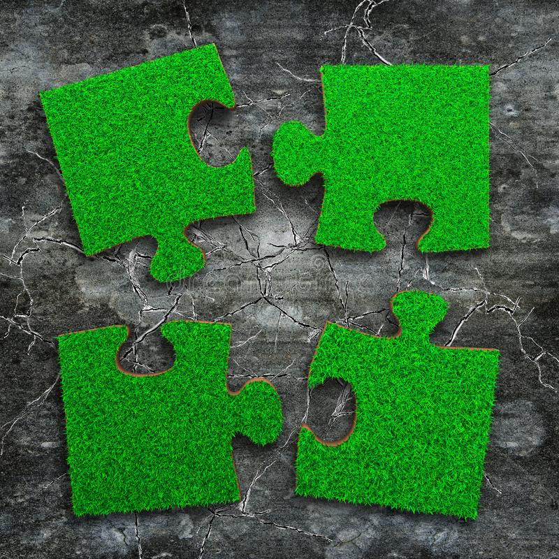 Four jigsaw puzzles with green grass. Jigsaw puzzles of green grass texture, on grunge dark grey concrete floor background, high angle view royalty free stock images