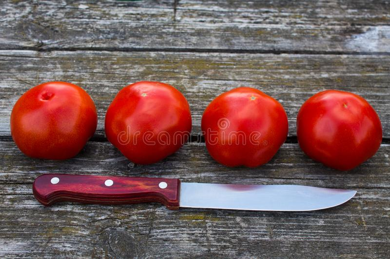 Four ripe red tomatoes on an old wooden table royalty free stock images