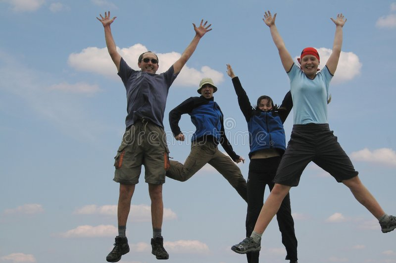 Download Four jumping friends stock photo. Image of holiday, active - 1622966