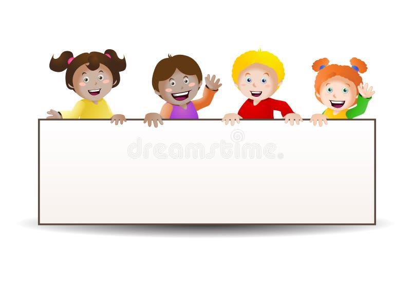 Four Kids Banner Stock Illustration