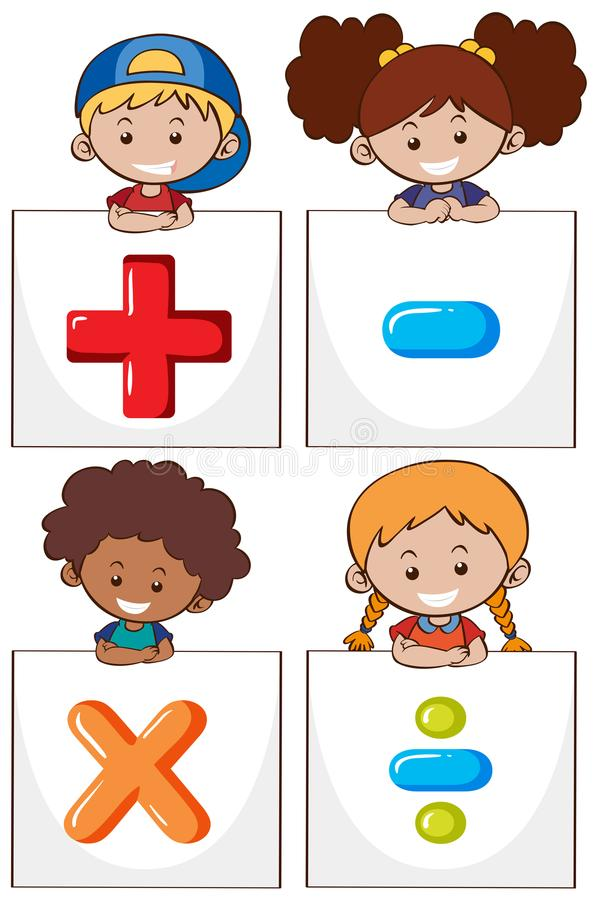 Four Kids With Different Math Signs Stock Vector - Illustration of ...