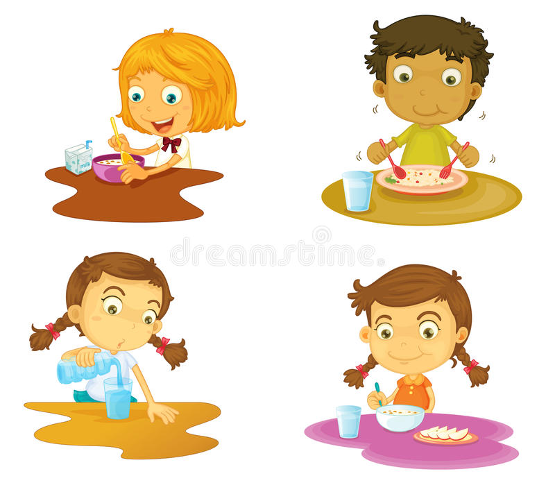 Four kids having food vector illustration