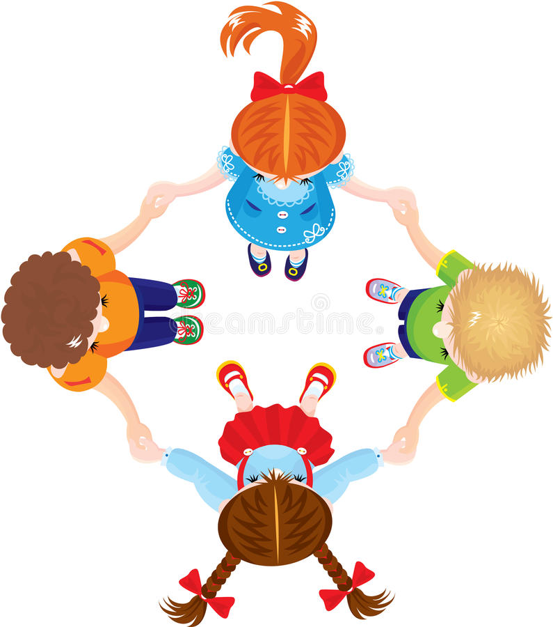 Four Kids Joining Hands To Form A Circle, Isolated Royalty Free Stock Images
