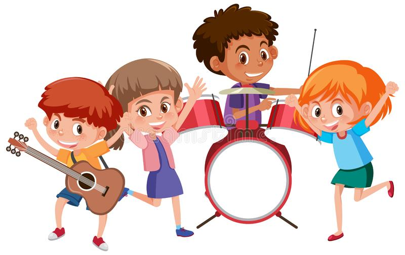 Four kids playing music in band. Illustration stock illustration
