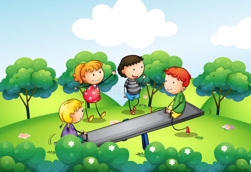 Four kids playing with the seesaw at the hill stock illustration
